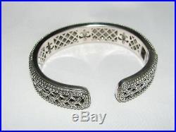 JUDITH RIPKA Sterling Mint Green Quartz Pave Cubic Zirconia Woven Cuff Bracelet