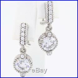 JUDITH RIPKA Sterling Silver 4.75 CTW Cubic Zirconia Drop Dangle Earrings 1