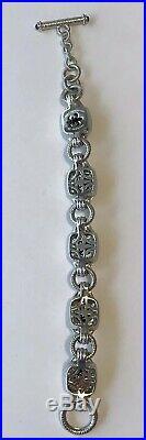 JUDITH RIPKA Sterling Silver Faceted BLACK ONYX & Cubic Zirconia 8 Bracelet 55g