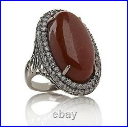 Jade Of Yesteryear Joy Oval Red Jade & Cubic Zircon Sterling Silver Ring Size 6