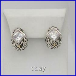 John Hardy Angela Sterling Silver CZ cubic zirconia Omega Back Earrings