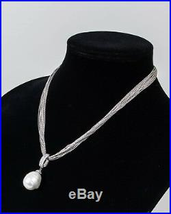 Joia De Majorca Necklace 20 Strand Sterling Cubic Zirconia Pave Pendant withPearl