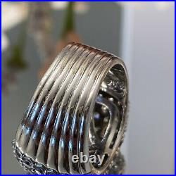Jose Hess Bella Luci Mens ladies Sterling silver Cubic Zirconia wide pave ring