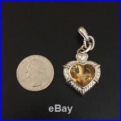 Judith Ripka 7 Ct Yellow Citrine Heart Pendant Enhancer 925 Cubic Zirconia