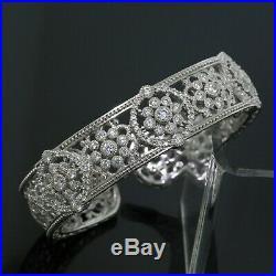 Judith Ripka 925 Sterling Silver CZ Cubic Zirconia Wide Flower Cuff Bracelet