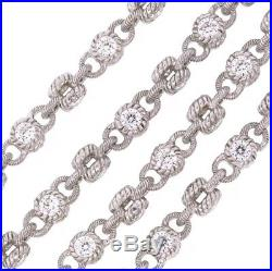 Judith Ripka 925 Sterling Silver CZ Round Cubic Zirconia Chain Necklace 20- 216
