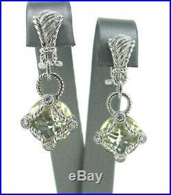 Judith Ripka 925 Sterling Silver Cubic Zirconia Dangle/Droop Earrings