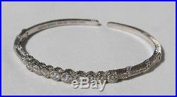 Judith Ripka 925 Sterling Silver Diamonique Cubic Zirconia Hinged Cuff Bracelet