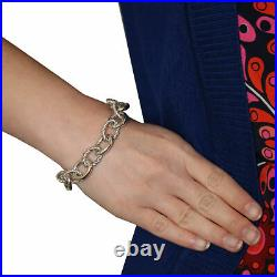 Judith Ripka Cable Chain Bracelet 6 3/4 -Sterling Silver Cubic Zirconia Accents