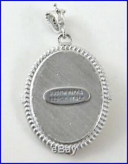 Judith Ripka Cameo Pendant Enhancer CZ Sterling Silver 925 Italy Cubic Zirconia