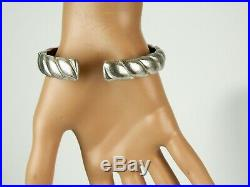 Judith Ripka Cubic Zirconia 925 Sterling Silver Ribbed Hinged Cuff Bracelet