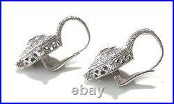 Judith Ripka Cubic Zirconia CZ Sterling Silver 925 Lever Back Earrings