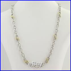 Judith Ripka Cubic Zirconia Necklace 20 Sterling Silver & Gold Plated