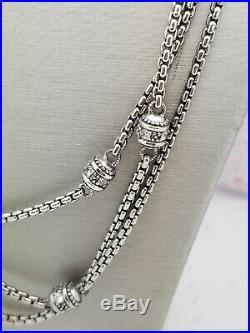 Judith Ripka Cubic Zirconia Necklace-Estate Silver-Vintage Three Strand-SS 925