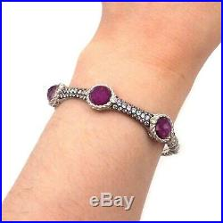 Judith Ripka Cubic Zirconia Synthetic Ruby Sterling Silver Bangle Bracelet 6.25