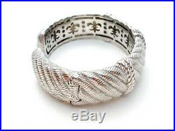 Judith Ripka Cuff Bracelet With Cubic Zirconias Hinged Wide Cz Bangle Signed