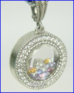 Judith Ripka Floating Cubic Zirconia Colorful Sterling Silver Enhancer Pendant