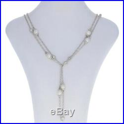 Judith Ripka Freshwater Pearl & Cubic Zirconia Necklace 53 1/4 Sterling Cable