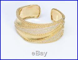 Judith Ripka Gilt Sterling Silver Cubic Zirconia Wide Cuff Bracelet
