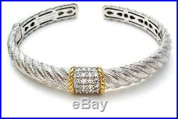 Judith Ripka Gold Clad Cuff Bracelet Sterling Silver Hinged With Cubic Zirconias