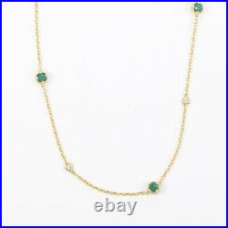 Judith Ripka Gold Sterling Silver Green Cubic Zirconia Station Necklace