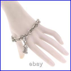 Judith Ripka Jewelry 925 Sterling Silver Cubic Zirconia Heart Padlock Bracelet