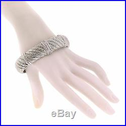 Judith Ripka Jewelry Sterling Silver CZ Cubic Zirconia Cable Wide Cuff Bracelet
