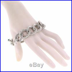 Judith Ripka Jewelry Sterling Silver Cubic Zirconia Onyx Cable Toggle Bracelet