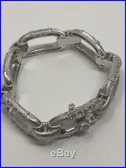 Judith Ripka Jewelry Sterling Silver Cubic Zirconia Rectangle Cable Bracelet NEW
