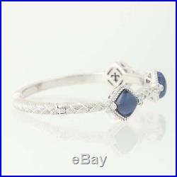 Judith Ripka London Blue Topaz & Cubic Zirconia Cuff Bracelet 6 Sterling Silver
