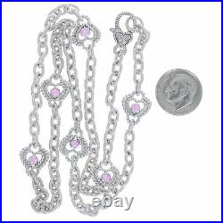 Judith Ripka Pink Cubic Zirconia Heart Station Necklace 20 Sterling 925 Round