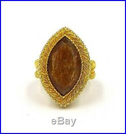 Judith Ripka Rutilated Quartz Cubic Zirconia Sterling Silver Ring SZ 8
