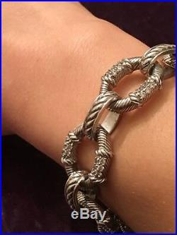 Judith Ripka Sapphire Cz Cubic Zircimia Sterling Silver Togle Bracelet