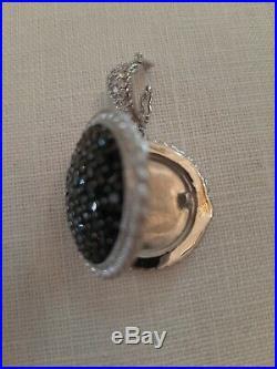 Judith Ripka Sterling Black Cubic Zirconia Locket/Enhancer on Black Leather Rope