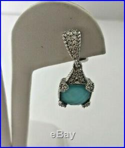 Judith Ripka Sterling Blue Quartz Cubic Zirconia Dangle Earrings Omega New
