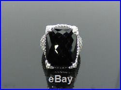 Judith Ripka Sterling Onyx Diamonique (Cubic Zirconia) Monaco Ring Size 7 C85