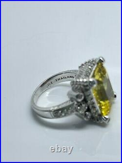 Judith Ripka Sterling Silver 925 Citrine Ring with Cubic Zirconia CZ Size 9