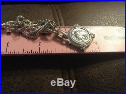 Judith Ripka Sterling Silver. 925 & Cubic Zirconia Coin Bracelet 7.25 QVC
