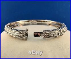 Judith Ripka Sterling Silver 925 Diamonique Cubic Zirconia Hinged Cuff Bracelet