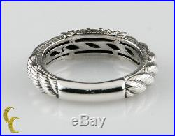 Judith Ripka Sterling Silver. 925 Textured Band Ring Size 8 withCubic Zirconias