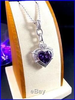 Judith Ripka Sterling Silver Amethyst Cubic Zirconia Heart Pendant Enhancer