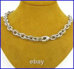 Judith Ripka Sterling Silver Black Onyx & Cubic Zirconia Cable Link Necklace 18