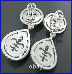 Judith Ripka Sterling Silver Blue Topaz & Cubic Zirconia Earrings