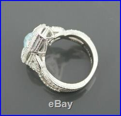 Judith Ripka Sterling Silver Blue Topaz & Cubic Zirconia Ring