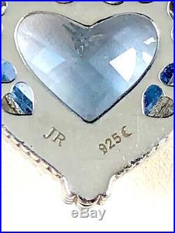 Judith Ripka Sterling Silver Blue Topaz Stone Cubic Zirconia Pendant Enhancer