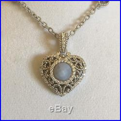 Judith Ripka Sterling Silver Chalcedony Blue Heart Necklace Cubic Zirconia Gift