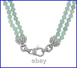 Judith Ripka Sterling Silver Cubic Zirconia & Green Mint Jade Bead Necklace, 18