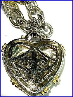 Judith Ripka Sterling Silver Cubic Zirconia Large Heart Enhancer Two Tone Chain