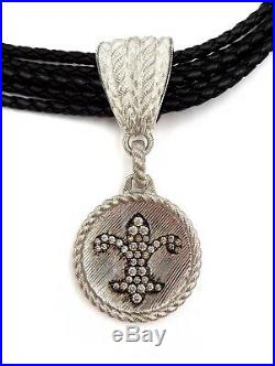 Judith Ripka Sterling Silver Cubic Zirconia Leather Cord Lily Pendant Necklace