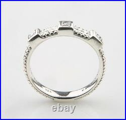 Judith Ripka Sterling Silver & Cubic Zirconia Ring Size 8.75 Great Price